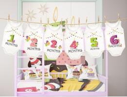 لباس ماهگرد نوزاد طرح اعداد شمعی