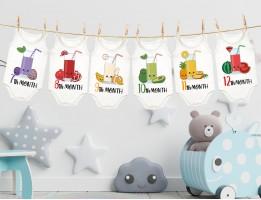 لباس ماهگرد نوزاد طرح آب میوه
